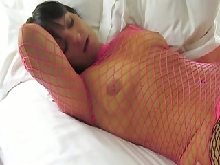 hotwife in fishnets fucks a regular fella.
