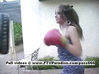 Kim and Nikki lovely amateur lesbian dolls boxing