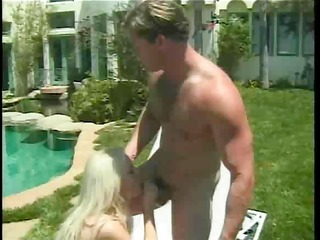 one rod and sexy golden-haired twat outside