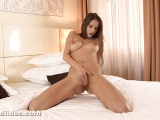 slender babe ramming a large red brutal sex tool