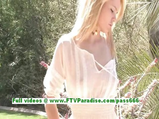 nicole cute golden-haired beauty getting exposed
