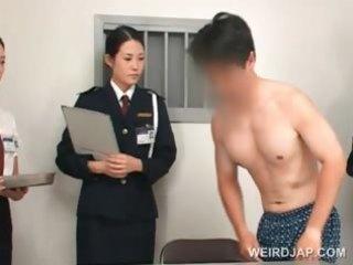 oriental police woman toying female taut wazoo on