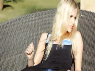 incredible golden-haired in shoes fingering