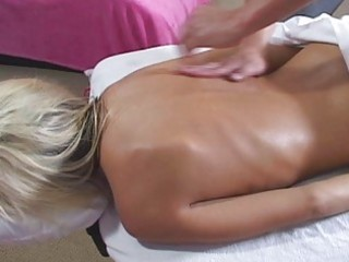 oiled golden-haired with petite breasts engulfing