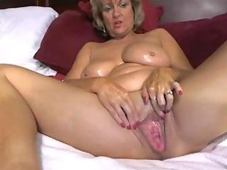 amazing big tited mama masturbates