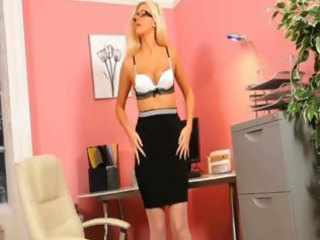 secretary in hot stocking teasing alone