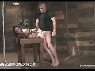 Bondage brunette babe gets orgasm