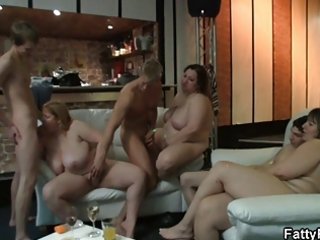 blond fatty is screwed in the bar