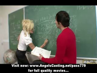 sexy golden-haired teacher has muff licked and