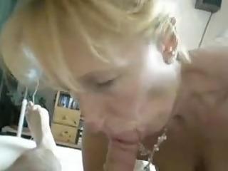 blond older engulf off at home
