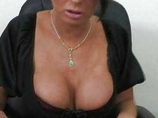 superb breasty brunette hair worker engulfing