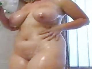 big beautiful woman showering