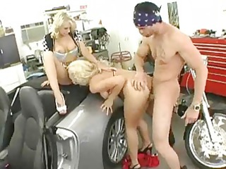 hawt blondes with merry teats receives drilled on