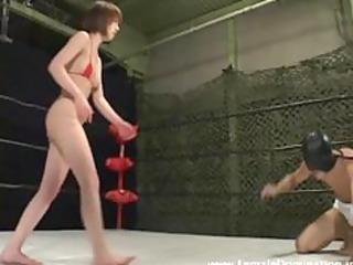 goddess in bikini beats masked, blindfolded serf
