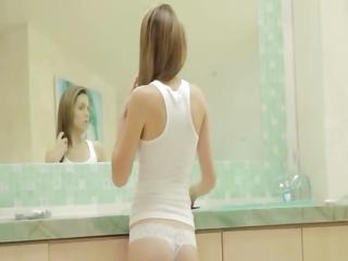 seductive washroom masturbation