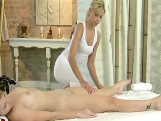 small massage models rubbing with oil