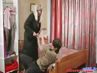 older russian cougar screwed by vibrator and