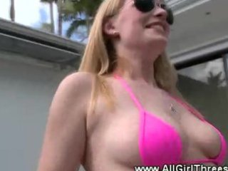bikini bitches receive lascivious in the pool and