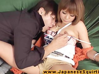 Asian squirter gets the finger and tongue from