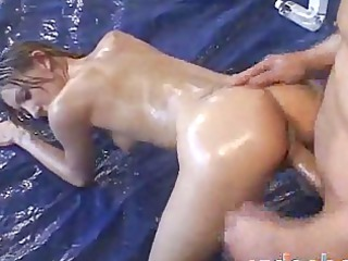 playgirl acquires oiled for anal with aged lad