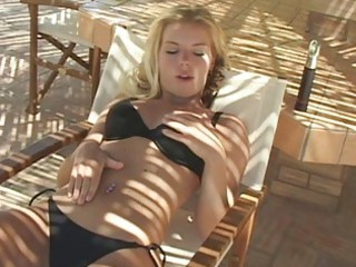 turned on golden-haired in darksome bikini