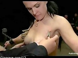 clamped sweetheart on sybian in public