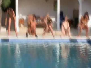 six nude beauties by the pool from russian