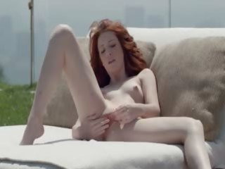 pretty redhead opening vagina outside