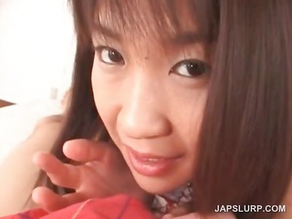 oriental cute legal age teenager gives tit and