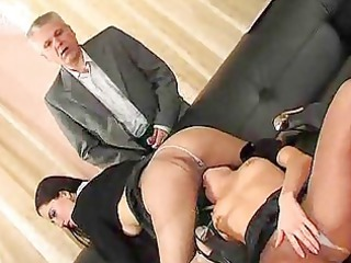 Old guys and two girls in pantyhose