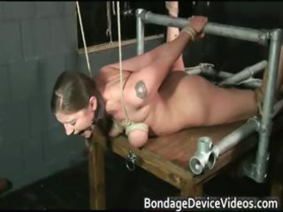 perverted dark brown wench is tied and spanked