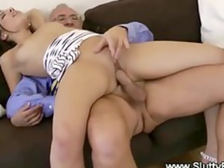 old boys pound hotty from behind on his sofa