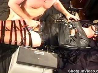 absolutely fastened hunk in leather straitjacket