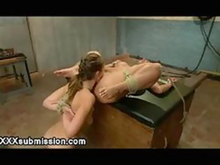 tied lesbian babes mouth and a-hole screwed by