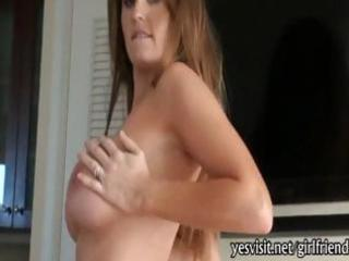 large titted brunette hair girlfriend sucks and