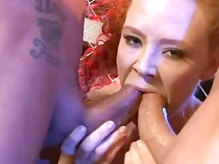 pale bushy redhead with large hooters acquires