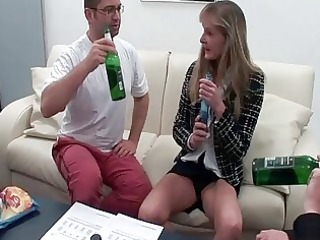 Two drunk friends fucks one old prostitute