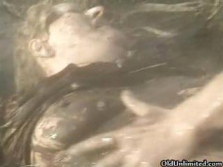 indecent old mamma overspread with mud acquires