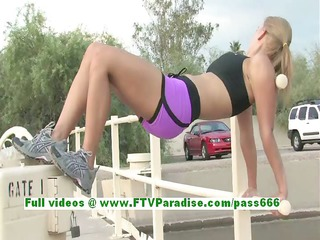 anne fleshly blond woman works out and public