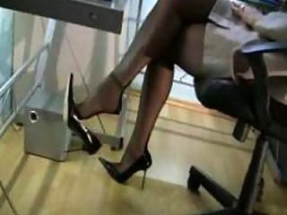 redhead secretary in stockings