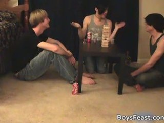 great lustful gay teenagers having a game party