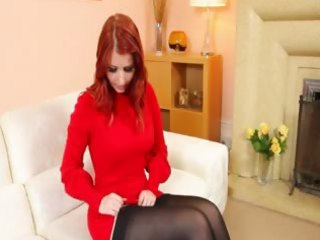 redhead in stockings undress in red shoes