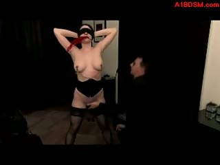 blindfolded cutie getting her nipps tortured with