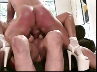 honey receives double screwed and jizzed on