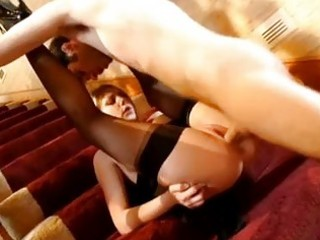 hawt booty blond in darksome nylons acquires