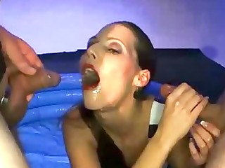 blond wench swallows sexy pee