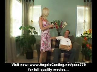 breasty golden-haired does blow job and titsjob