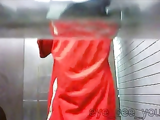 changing for work in public crapper