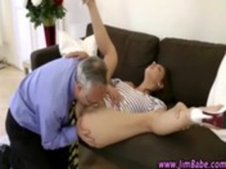 brunette hair whore receives eaten out and