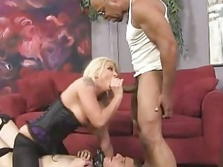 Busty blonde and her sick cuckold